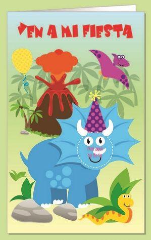 Invitacion fiesta troquelada dinosaurio blister 8 unidades