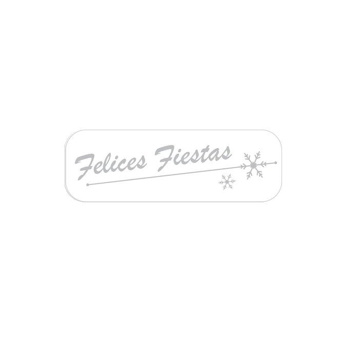 Rollo 250 etiquetas felices fiestas blanco
