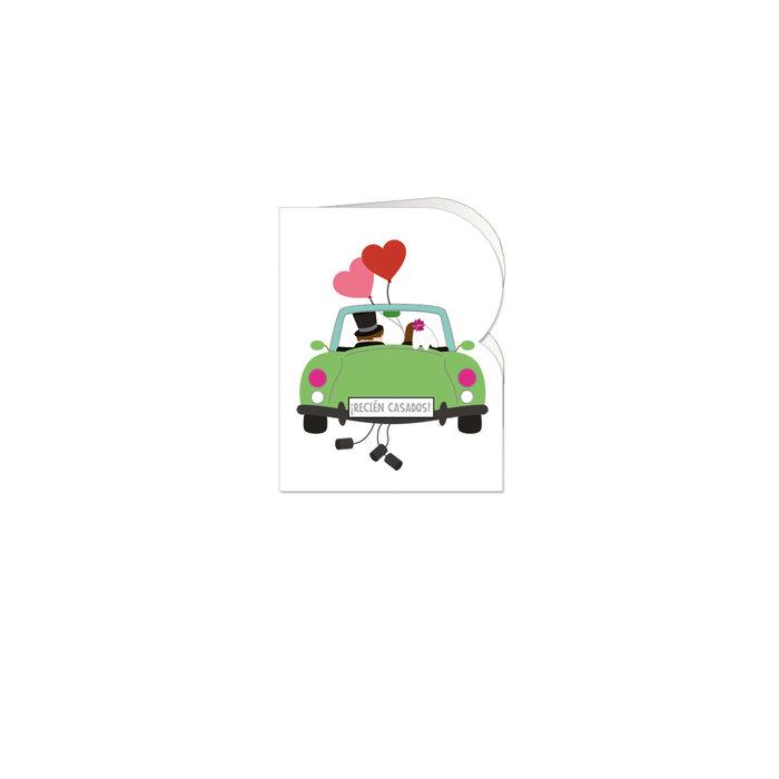 Etiquetas troqueladas boda coche de novios 90 unidades
