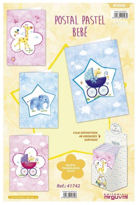 Expositor 48 postales pastel bebe surtidos