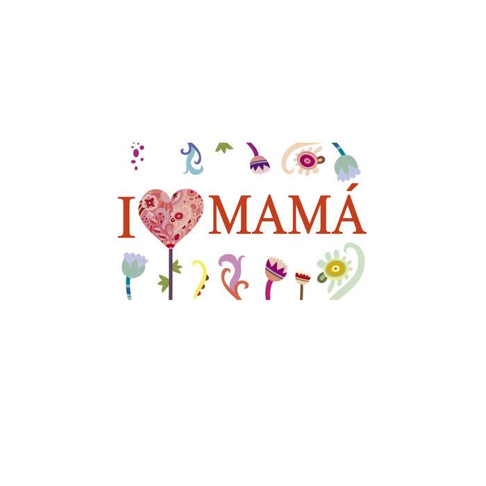 Etiquetas i love mama rollo 250 unidades