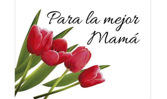 Tarjeta mini tulipanes para la mejor mama