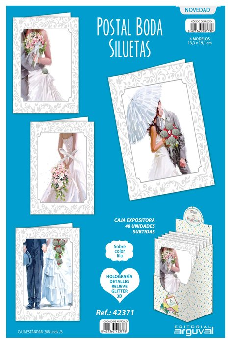 Postal boda siluetas 48 unidades