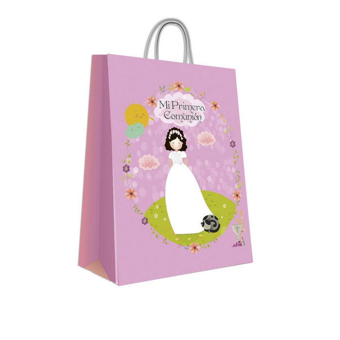 Bolsa comunion niña gato (42x31x12)