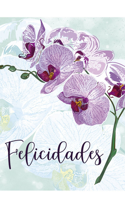 Tarjeta mini felicidades orquidea (66x90)