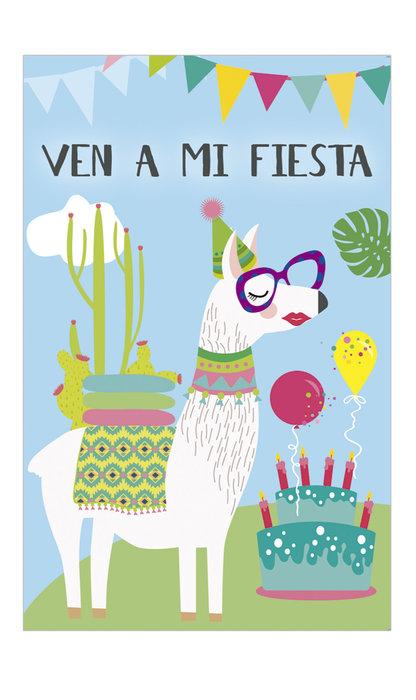 Invitacion fiesta llama tarta blister 8 uds