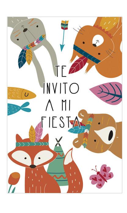 Invitacion fiesta animales blister 8 unidades