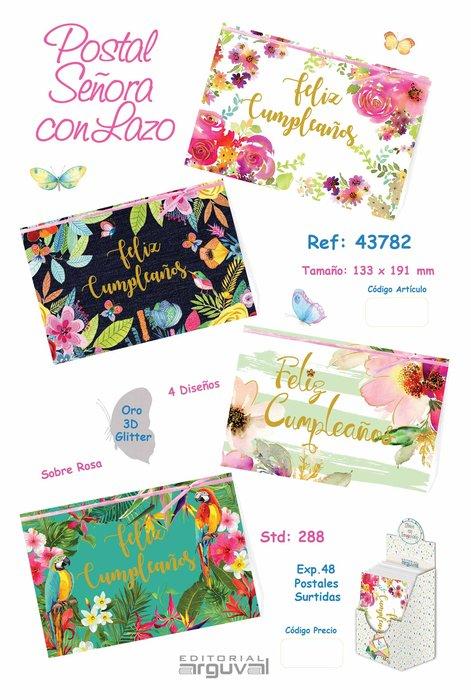 Expositor 48 postales cumpleaños señora con lazo surtidas