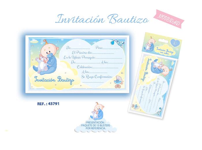Invitacion bautizo niÑo blister 10 unidades