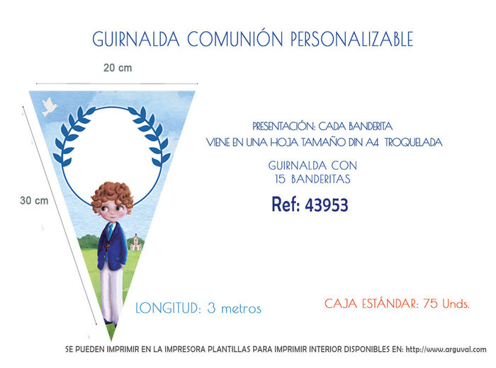 Guirnalda comunion niÑo personalizable