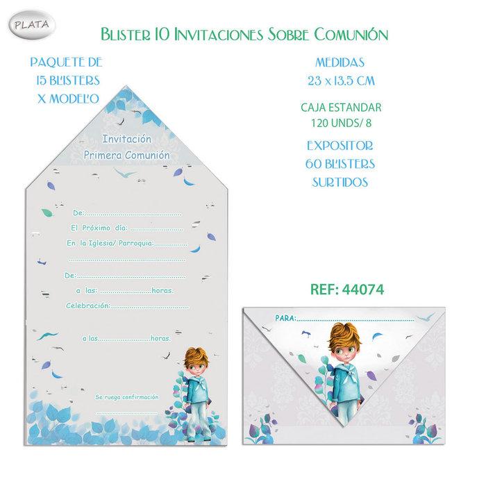 Blister 10 invitaciones sobre comunion niÑo hojas