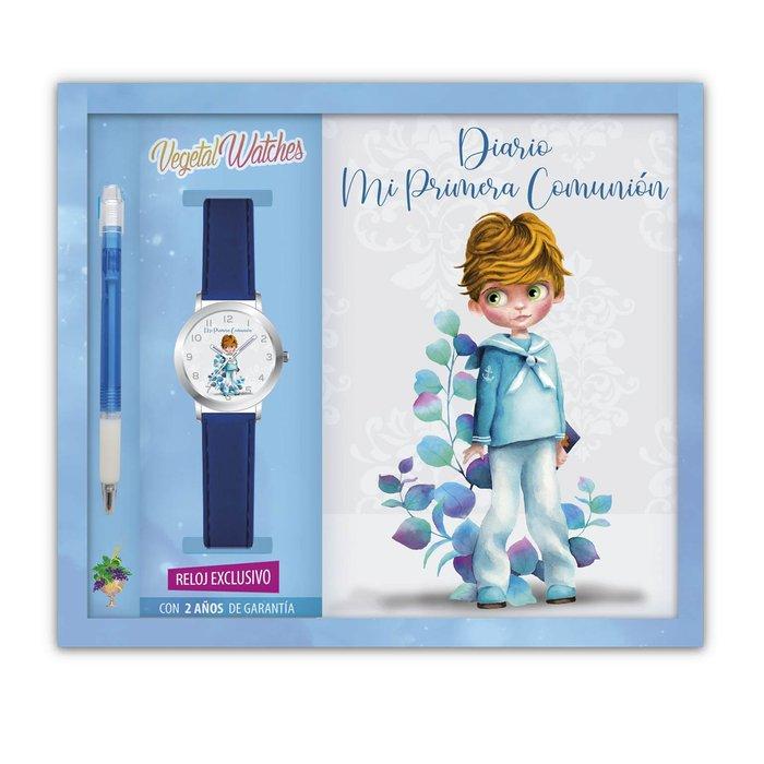Diario comunion niÑo + reloj + boligrafo