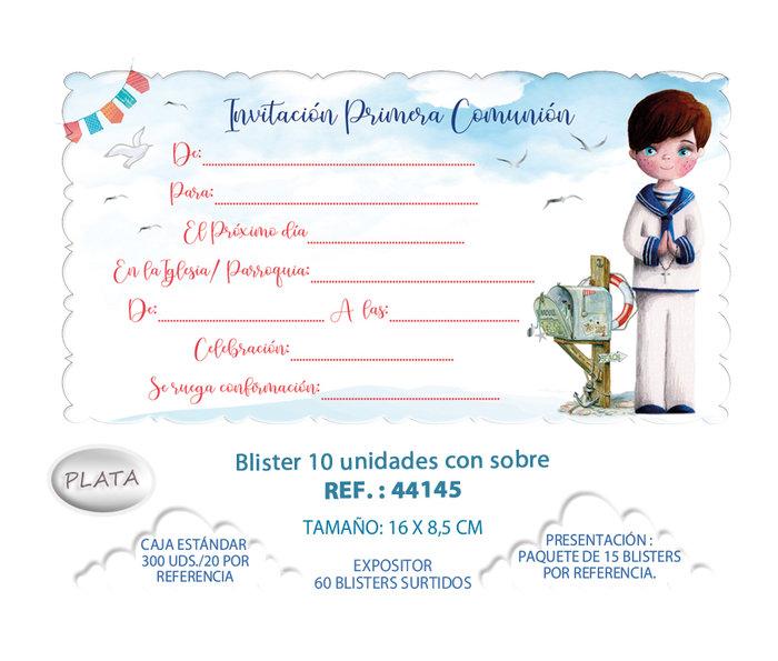 Blister 10 invitacion + sobre comunion niÑo buzon