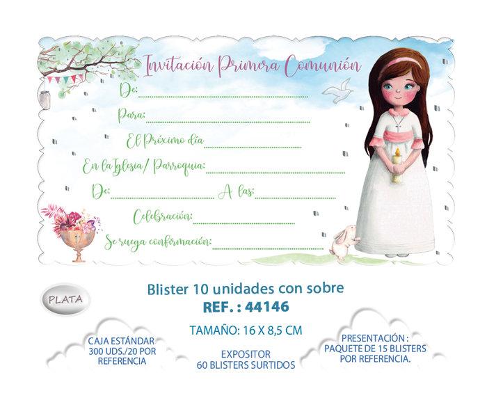 Blister 10 invitacion + sobre comunion niÑa arbol