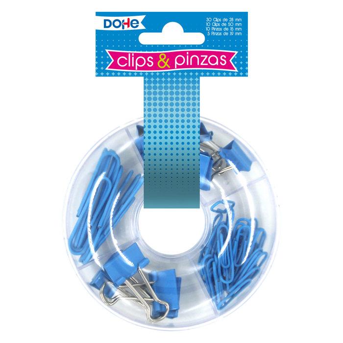 Combo de pinzas y clips azul