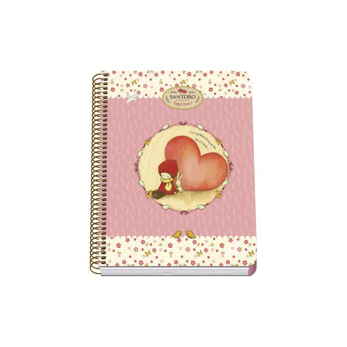 Cuaderno espiral a5 t blanda 80h santoro poppi loves heart