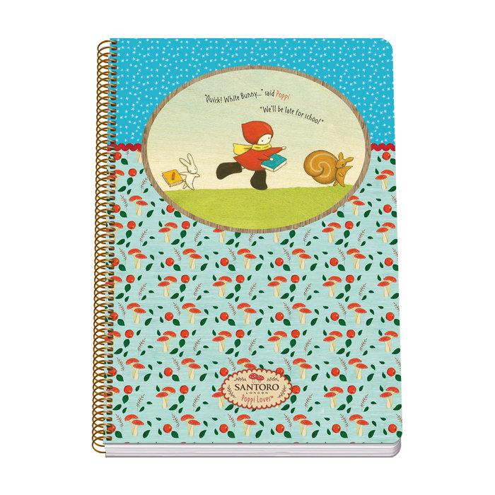 Cuaderno espiral folio tapa blanda 80 hojas - santoro - popp