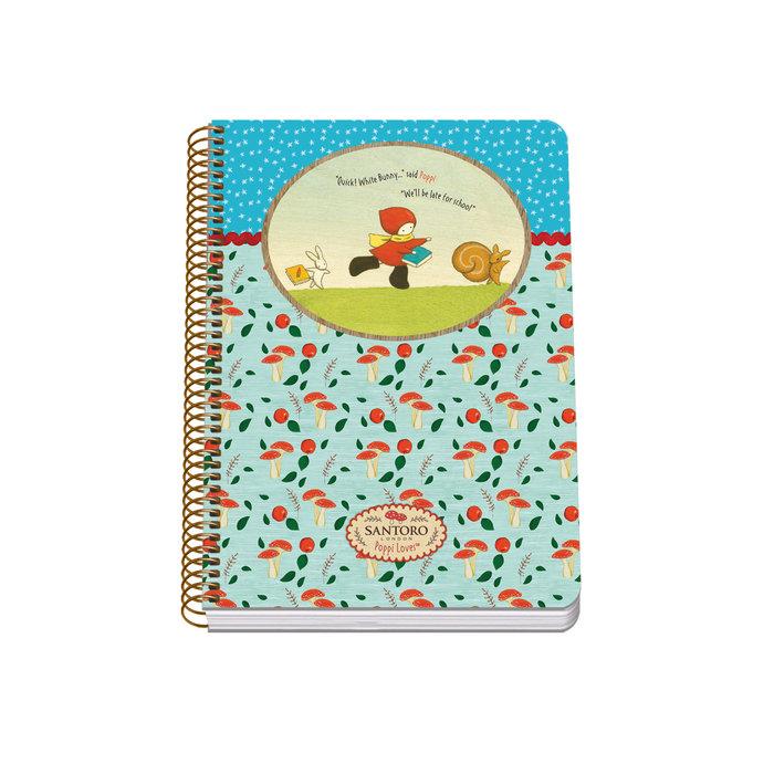 Cuaderno espiral a5 tapa blanda 80 hojas - santoro - poppi l