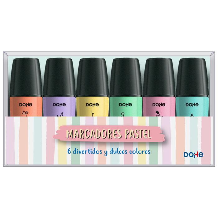 Mini marcadores fluorescentes tonos pastel pack de 6 uds