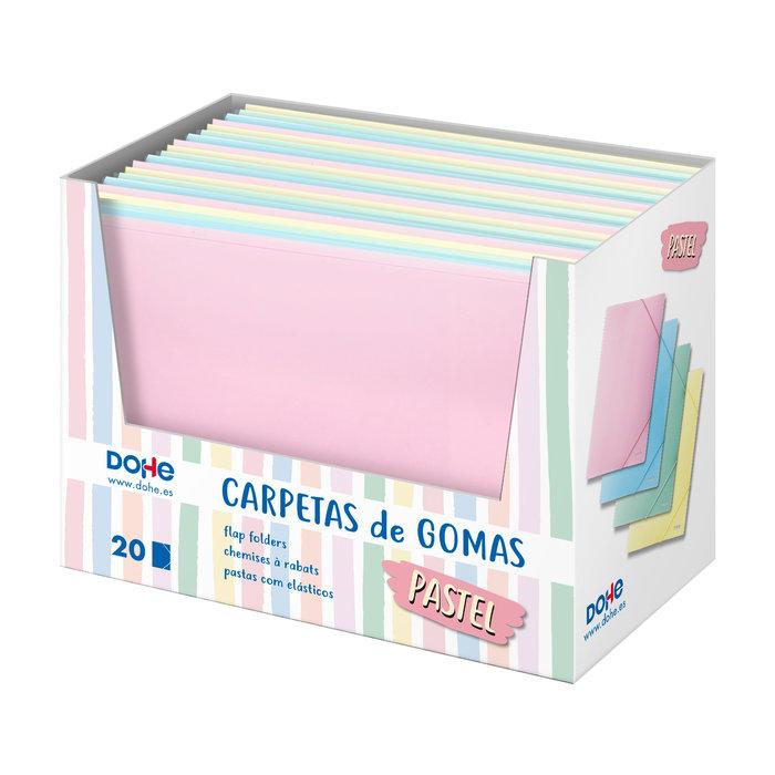 Expositor 20 carpetas gomas a4 colores pastel surtidas