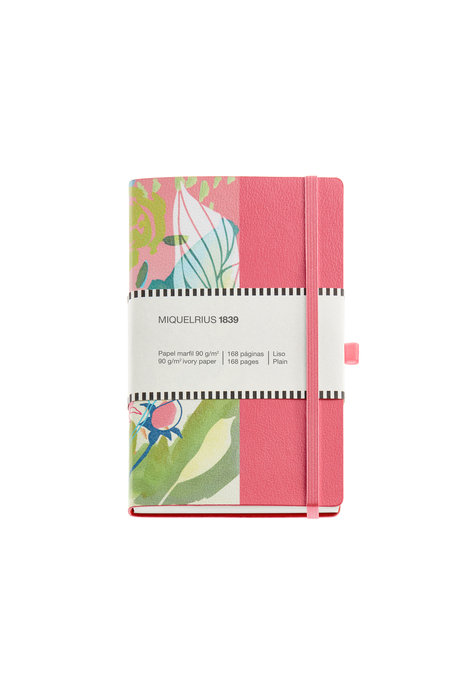 Cuaderno de notas floral 112x174mm 84 h liso simil piel