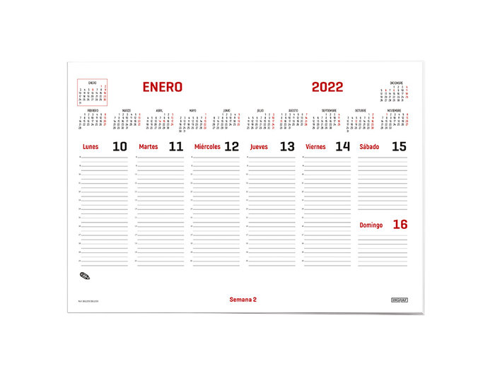 Calendario 2022 memo encolado 43x30