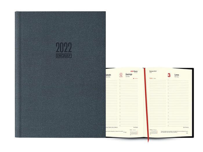 Agenda anual 2022 seul dia pagina 17x24 negro