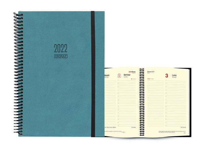 Agenda anual 2022 tokio dia pagina 17x24 azul turquesa