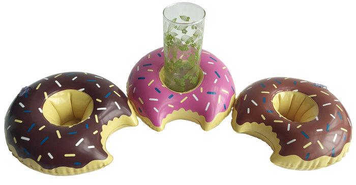 Posa vasos hinchable rosquilla 3 colores surtidos
