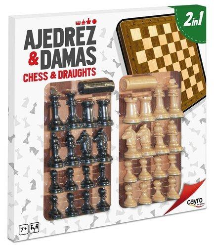 Tablero ajedrez damas madera con accesorios