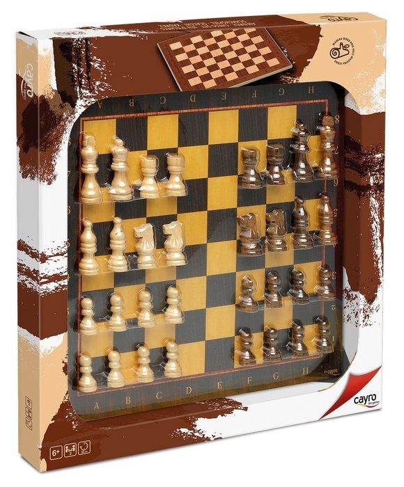 Tablero ajedrez con accesorio de madera