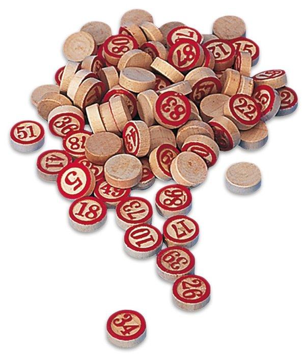 Fichas de loteria de madera marcadas a una cara