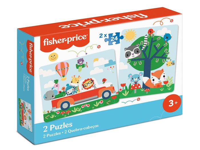 2 puzles madera 24 piezas fisher-price