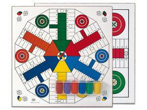 Tablero parchis 4-6 jugadores madera con accesorio 40x40 cm