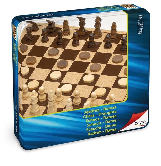 Juego de mesa ajedrez damas de madera metal box
