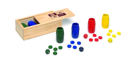Accesorios parchis 4 jugadores madera con tapa transparente