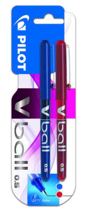 Rotulador pilot v-ball 0.5 tinta liquida blister azul y rojo