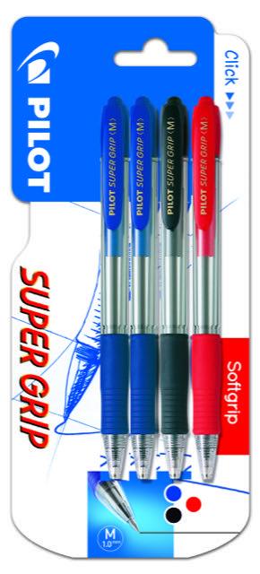 Boligrafo pilot super grip blister 2 azul, 1 negro y 1 rojo