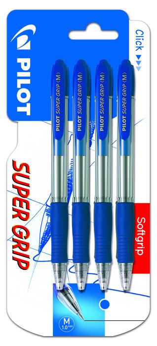 Boligrafo pilot super grip azul blister 4 uds