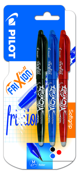 Boligrafo pilot frixion ball 07 1 negro, 1 azul y 1 rojo