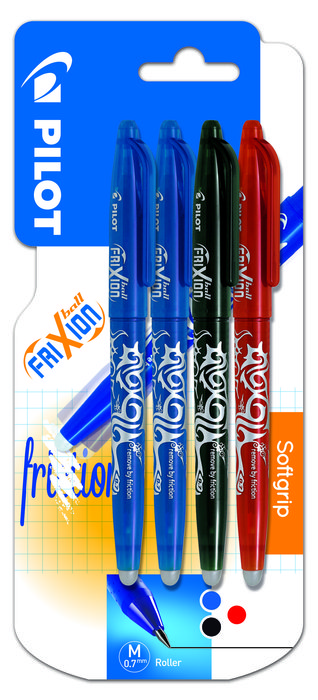 Boligrafo pilot frixion ball 07 1 negro, 2 azul y 1 rojo