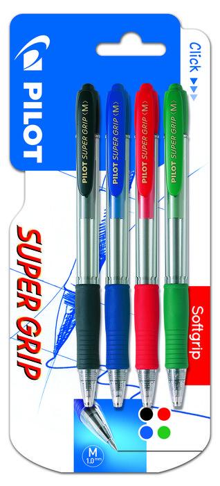 Boligrafo pilot super grip 1 azul, 1 negro,1 rojo y 1 verde