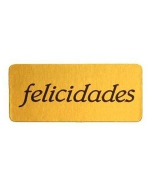 Etiqueta felicidades adhesiva rectangular oro/negro 450unid