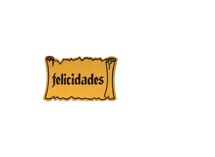 Etiqueta felicidades adhesiva pergamino oro/negro 42-5f13