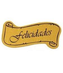 Etiqueta felicidades adhesiva pergamino oro/negro 42-5f14