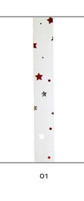 Cinta regalo 10 mm metalizada blanca estrellas multicolor