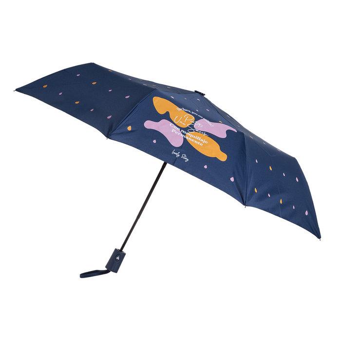 Paraguas pequeÑo estampado con mensaje pintate una azul