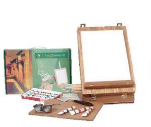 Set de pintura oleo caja caballete madera