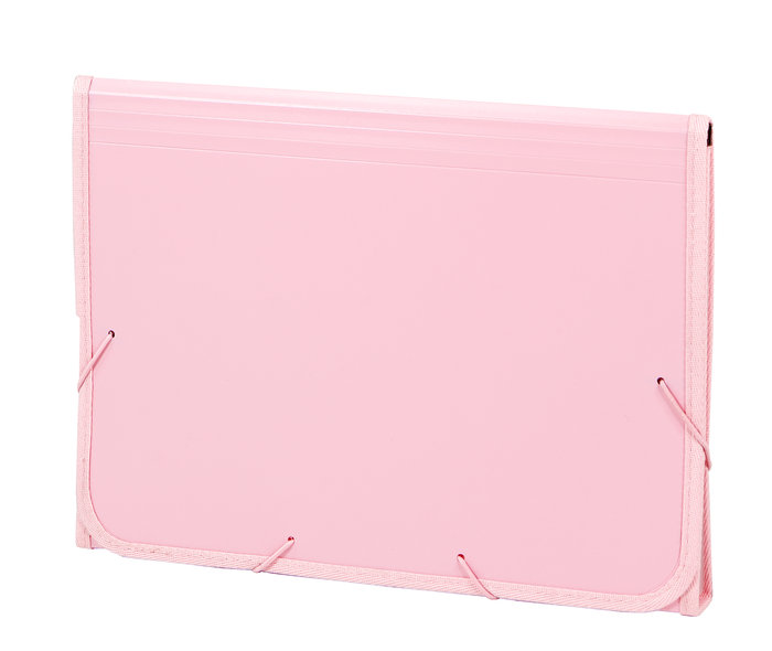 Acordeon pp soft folio 13 dptos ribete goma rosa