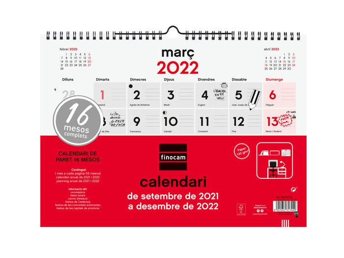 Calendario 2022 18 meses finocam pared l catalan